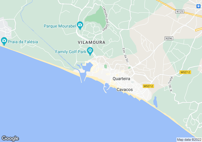 Map for Quarteira, Central Algarve, Portugal