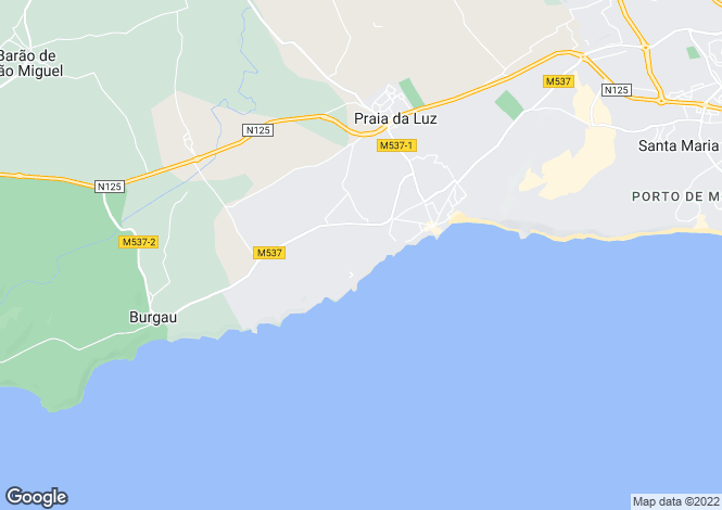 Map for Algarve, Praia da Luz