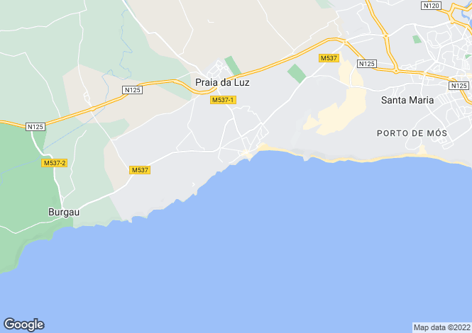 Map for Praia Da Luz, Western Algarve, Portugal