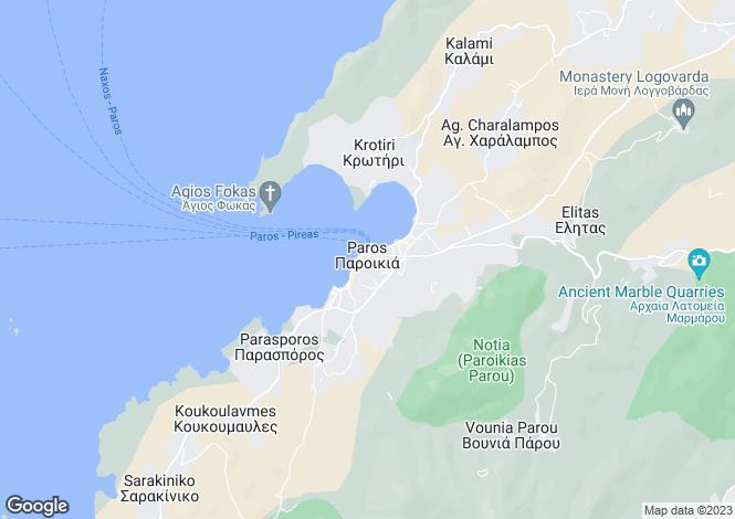 Map for Krios, Paros, Cyclades islands