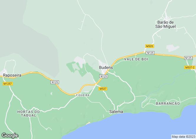 Map for Algarve, Budens