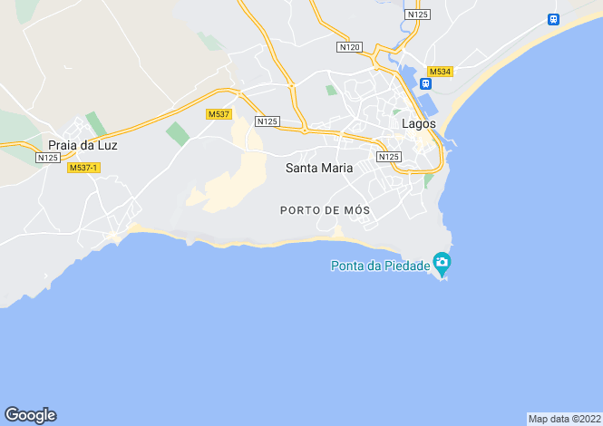 Map for Porto De Mos, Algarve, Portugal