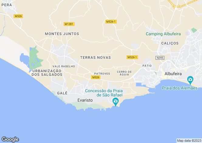 Map for West of Albufeira, Algarve, Portugal