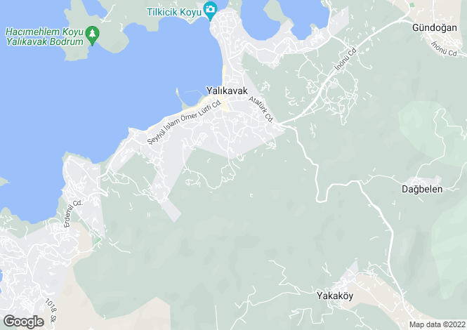 Map for Turkey - Mugla, Bodrum, Yalikavak