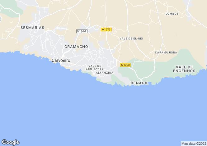 Map for Carvoeiro, Lagos, Algarve, Portugal