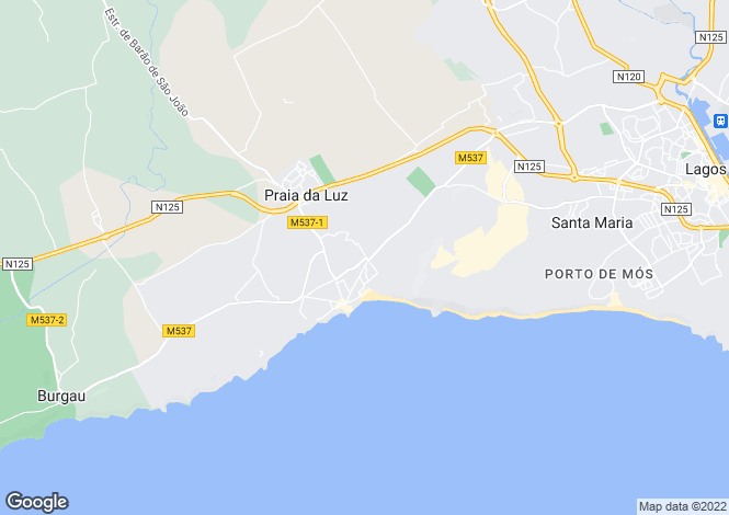 Map for Praia da Luz, Algarve