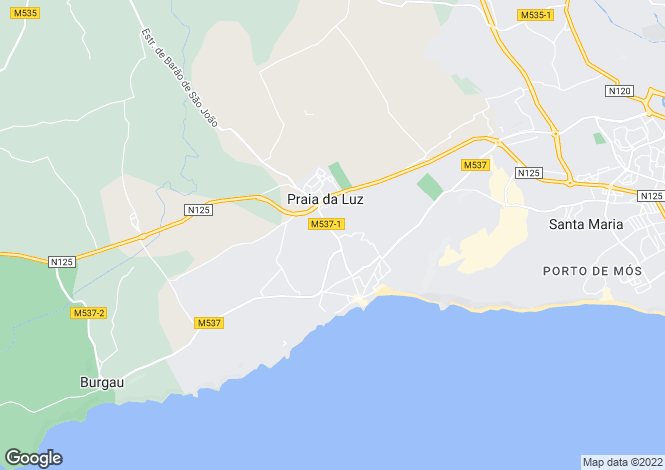 Map for Algarve, Praia da Luz