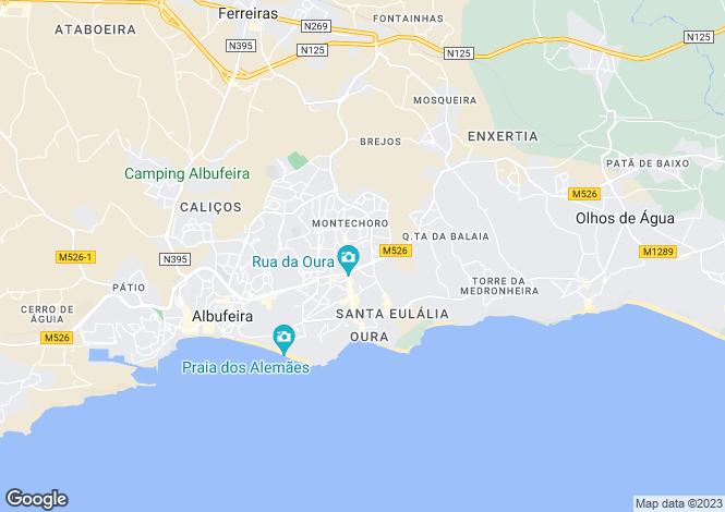 Map for Albufeira, Central Algarve, Portugal