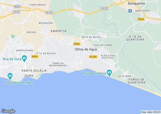 Map for Algarve, Olhos De Agua