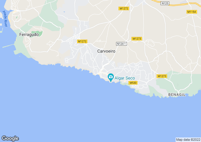 Map for Algarve, Carvoeiro