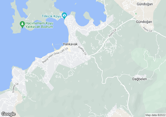 Map for Yalikavak, Bodrum, Mugla