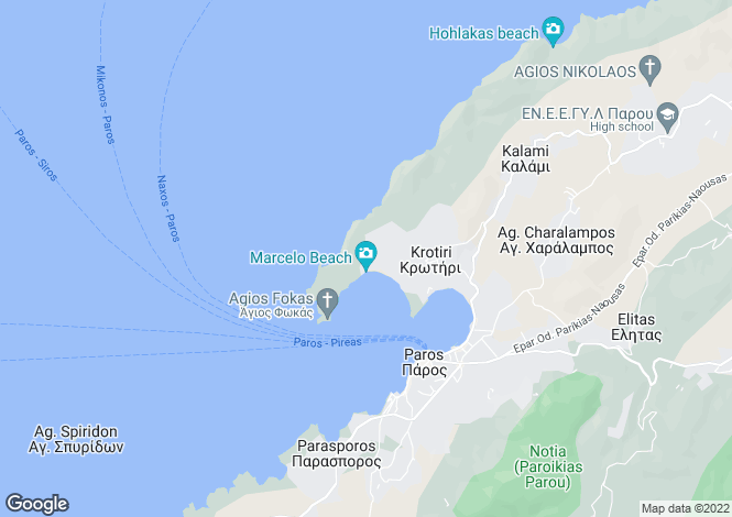 Map for Cyclades islands, Paros, Krios