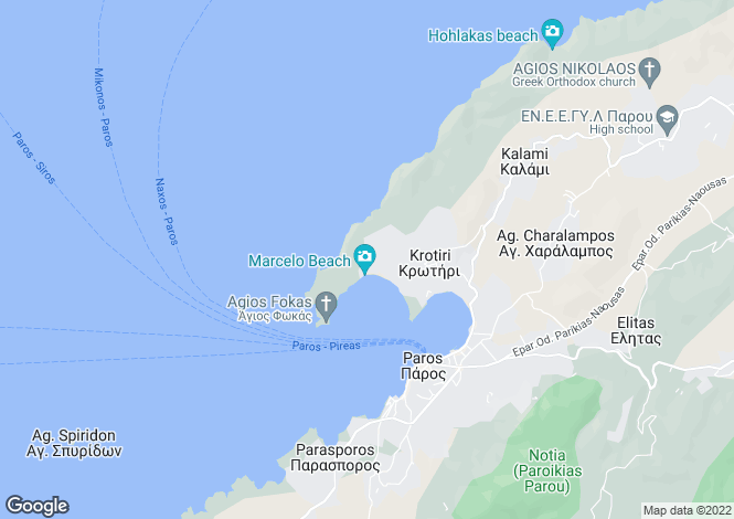 Map for Cyclades islands, Paros, Krios