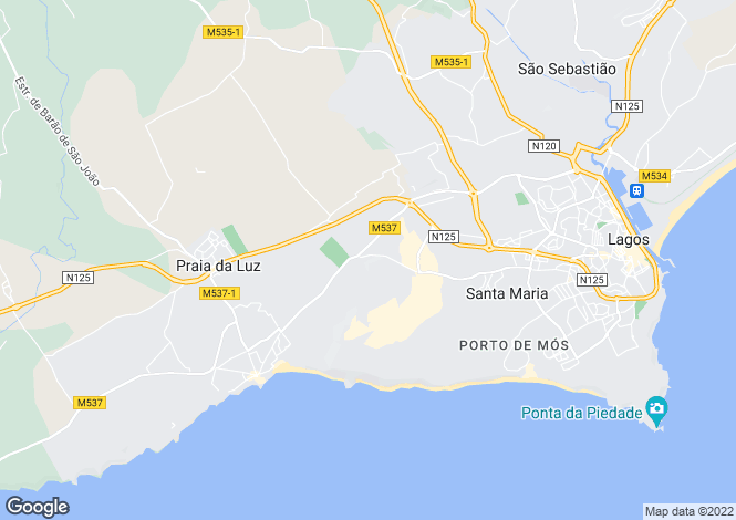 Map for Praia da Luz, Lagos, Algarve, Portugal