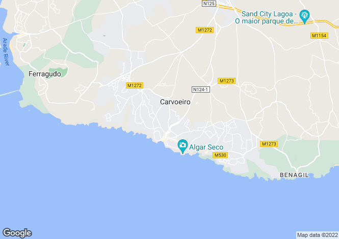Map for Single level villa with 2+ bedrooms, walking distance into Carvoeiro