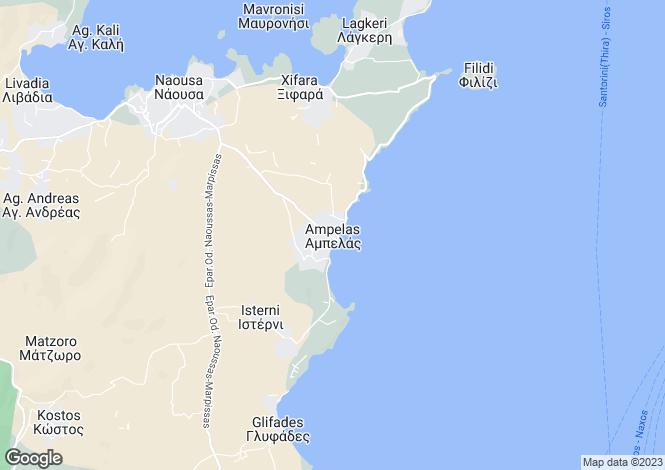 Map for Cyclades islands, Paros, Ampelas