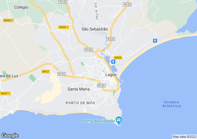 Map for Lagos, Western Algarve, Portugal
