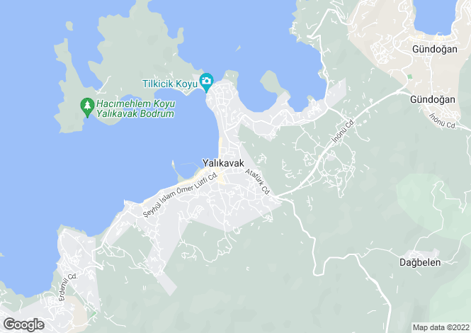 Map for Gündogan, Bodrum, Mugla