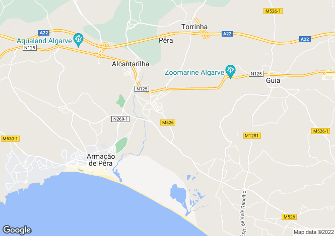 Map for Algarve, Pêra