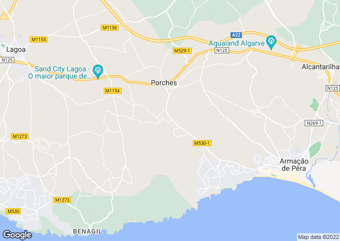 Map for Algarve, Porches
