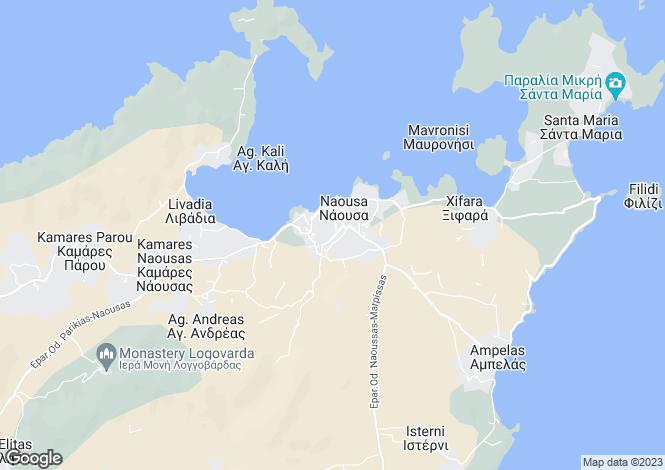 Map for Cyclades islands, Paros, Naousa