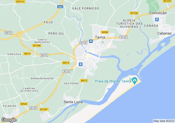 Map for Tavira, Algarve