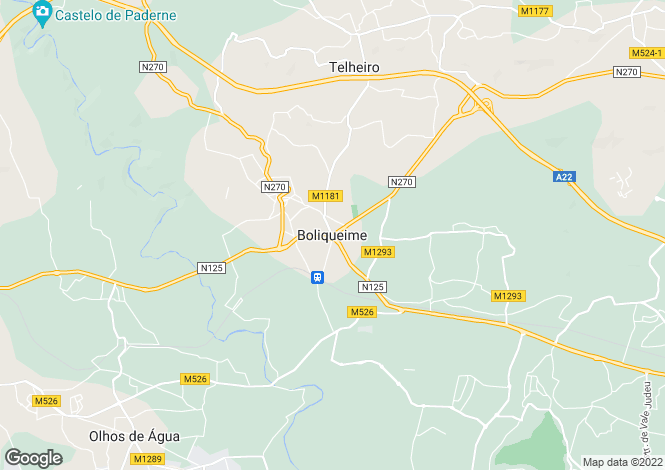 Map for Algarve, Boliqueime