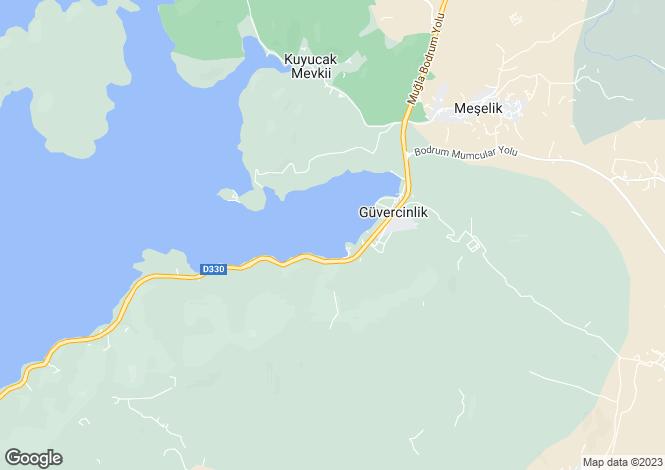 Map for Güvercinlik, Bodrum, Mugla
