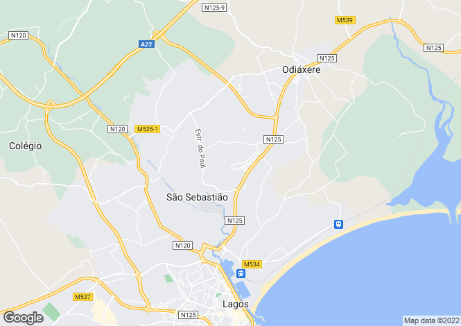 Map for Lagos, Algarve