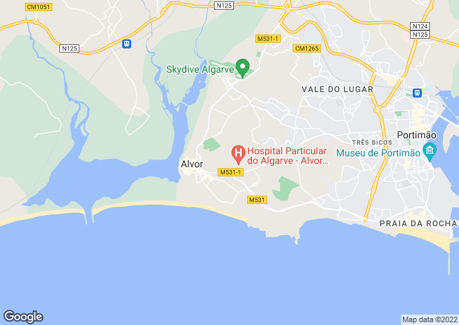 Map for Algarve, Alvor