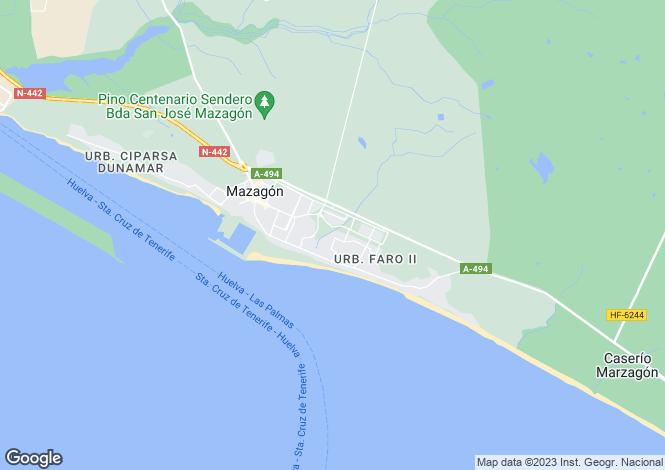Map for Andalucia, Huelva, Mazagón