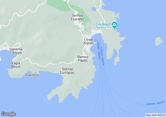 Map for Cyclades islands, Serifos, Ramos