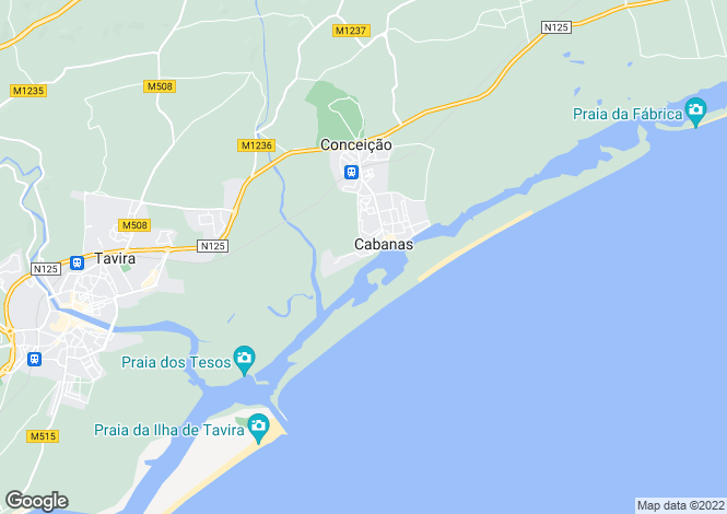 Map for Cabanas, Eastern Algarve, Portugal