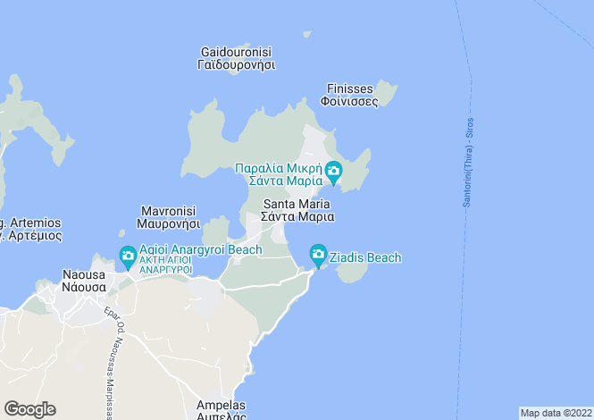 Map for Santa Maria, Paros, Cyclades islands