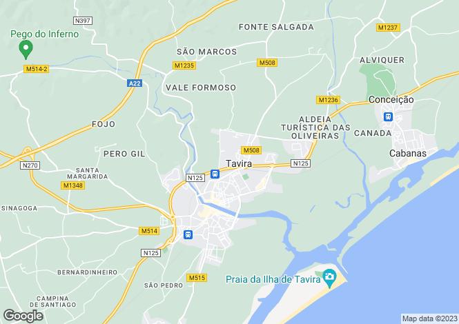 Map for Tavira, Algarve, Portugal