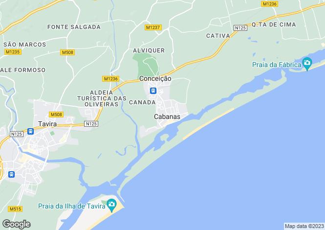Map for Algarve, Cabanas De Tavira