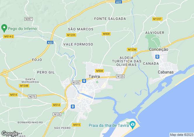 Map for Algarve, Tavira