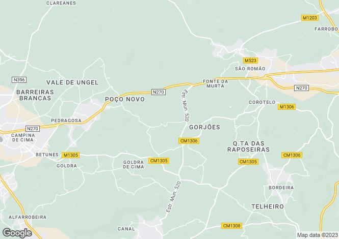 Map for Algarve, Gorjoes De Baixo