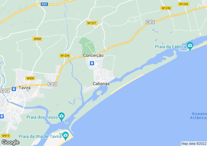 Map for Conceicao e Cabanas de Tavira, Faro, Portugal