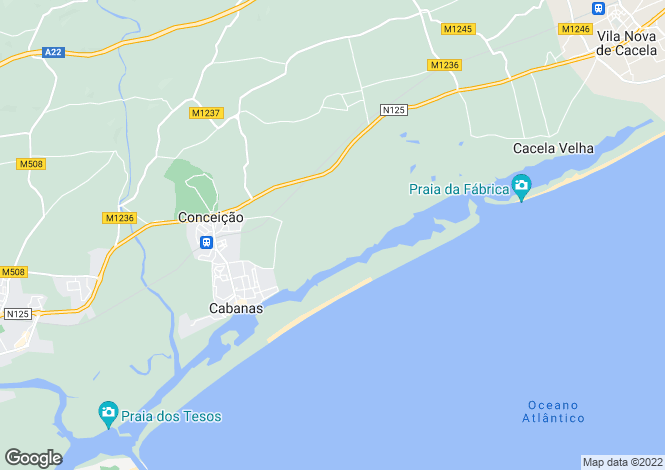Map for Algarve, Cabanas De Tavira