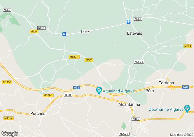 Map for Algarve, Alcantarilha