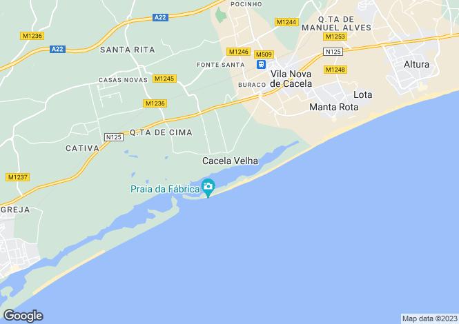 Map for Vila Nova de Cacela, Vila Real de Santo António, Faro