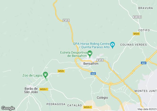 Map for Algarve, Bensafrim