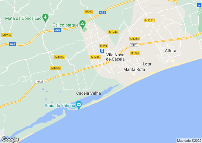 Map for Vila Nova de Cacela, Algarve