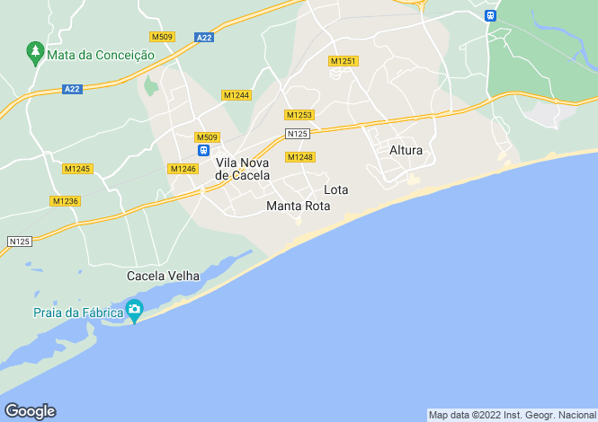 Map for Algarve, Manta Rota