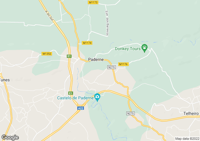 Map for Algarve, Paderne