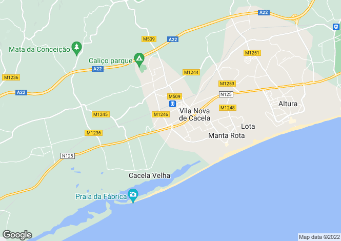 Map for Algarve, Vila Nova de Cacela