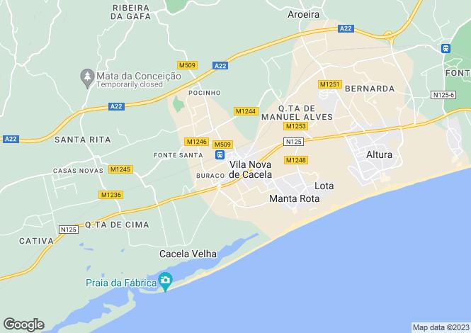 Map for Algarve, Vila Nova de Cacela
