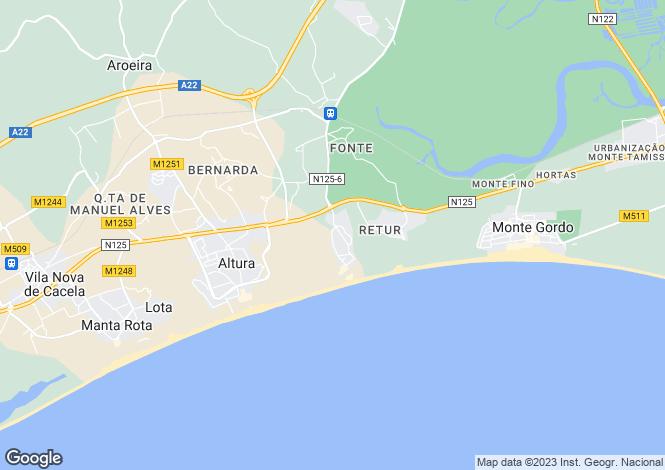 Map for Castro Marim, Faro, Portugal