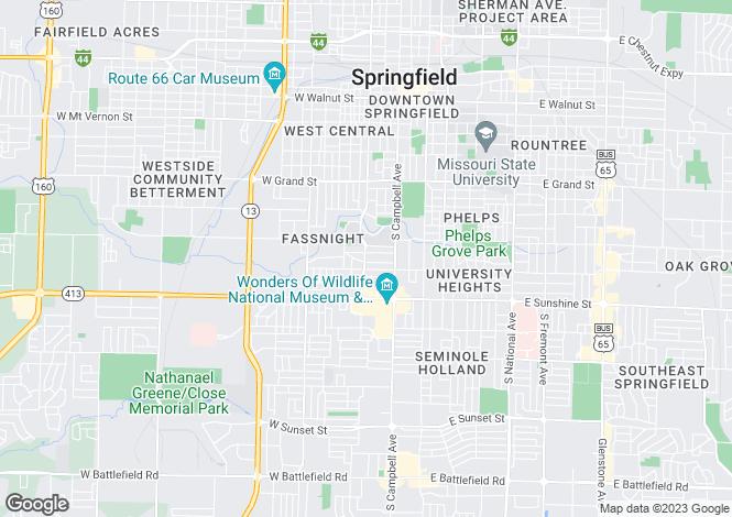 Map for USA - Missouri, Greene County, Springfield
